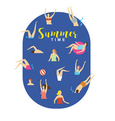 swimmmers in water summer vector image