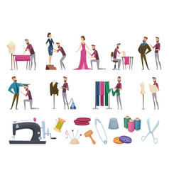 tailor items fabric sewing measuring accessories vector image
