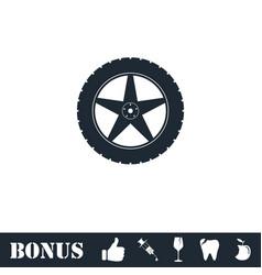 Tire icon flat vector
