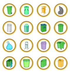 Trashcan set cartoon style vector image