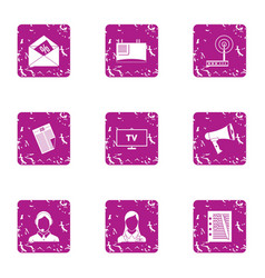 Tv receiver icons set grunge style vector