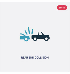 two color rear end collision icon from insurance vector image