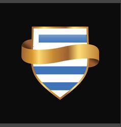 Uruguay flag golden badge design vector