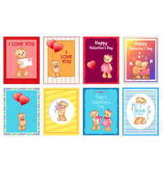 valentines day postcards with i love you signs vector image