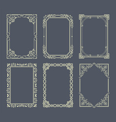 vignettes set vintage photo frames icons vector image