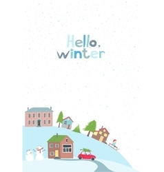 Village on the hill in winter time vector image