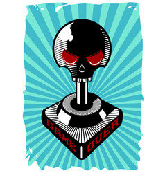 Vintage joystick with skull retro game controller vector