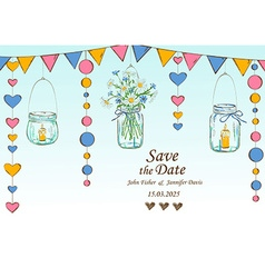 Wedding invitation with decoration of hanging jars vector image