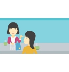 Woman during tv interview vector image
