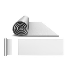 Yoga mat blank rolled up carpet for pilates vector