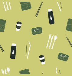 zero waste items seamless pattern vector image