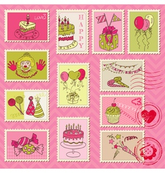 Birthday Postage Stamps vector image vector image