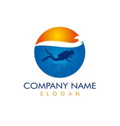 diver logotype vector image vector image