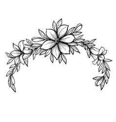 graphic drawing Lily branch with leaves vector image vector image