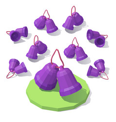 lowpoly christmas toy bells vector image vector image