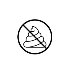 no shit line icon dont feces prohibition sign vector image vector image
