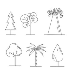 set of cute trees cartoon style vector image vector image