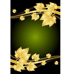 autumn green and gold frame vector image