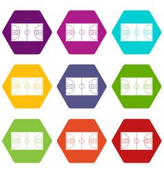 basketball field icon set color hexahedron vector image