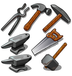 working tool of blacksmith and carpenter isolated vector image vector image