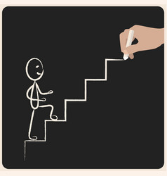 business success climbing stairs drawing in chalk vector image