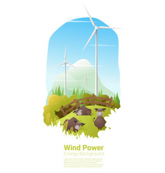 energy concept background with wind turbine 15 vector image vector image