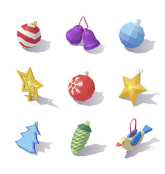 lowpoly christmas tree decorations vector image vector image