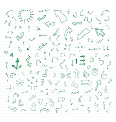 Set of green hand drawn arrows vector image