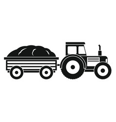tractor in black style isolated on white vector image