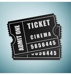 Cinema black ticket icon isolated on blue vector image