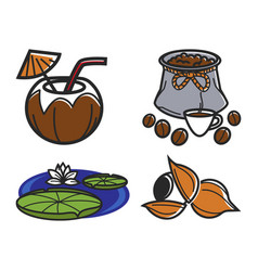 different food and water lily vector image vector image