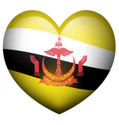 flag of brunei in heart shape vector image vector image