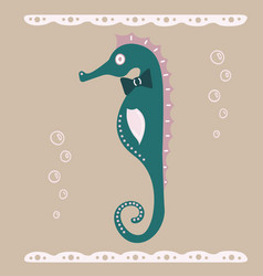 lovely of an intelligent seahorse vector image