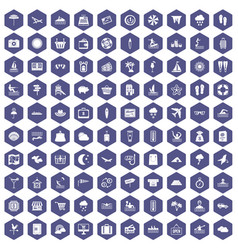 100 seaside resort icons hexagon purple vector