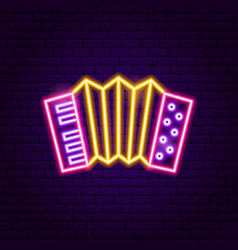 accordion neon sign vector image