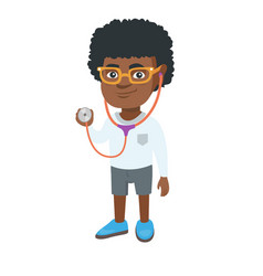 african boy in doctor coat holding a stethoscope vector image vector image