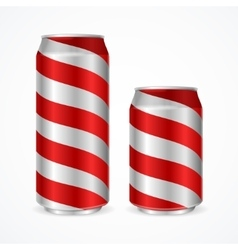 Aluminium Cans with Red Stripes vector