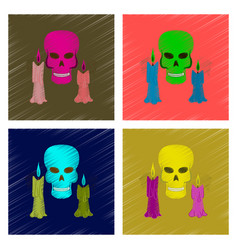 Assembly flat shading style icon candle skull vector