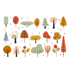 Autumn decorative elements with abstract trees vector