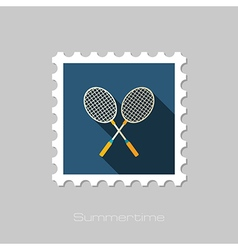 Badminton Racket flat stamp Summer Vacation vector