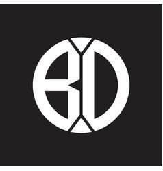 bd logo monogram with piece circle ribbon style vector image