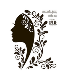 beautiful female face silhouette vector image