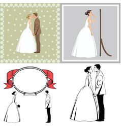 Beautiful newlywed couple vector