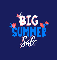 Big summer sale ad text on blue vector