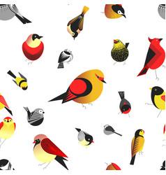 Bird different types of animals bullfinch pattern vector