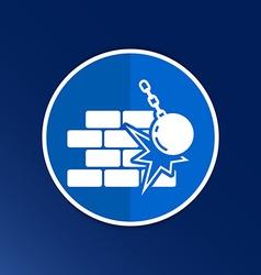 break the wall icon button logo symbol vector image