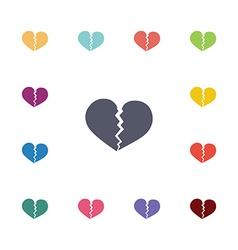 Broken heart flat icons set vector
