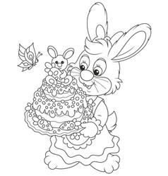 Bunny with an easter cake vector