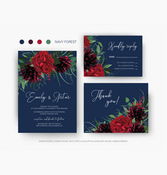 burgundy red and greenery floral wedding set vector image