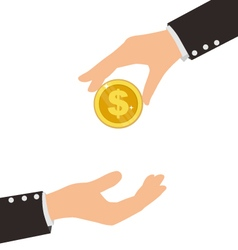 Business Hand Receiving Coin From Another Person vector image